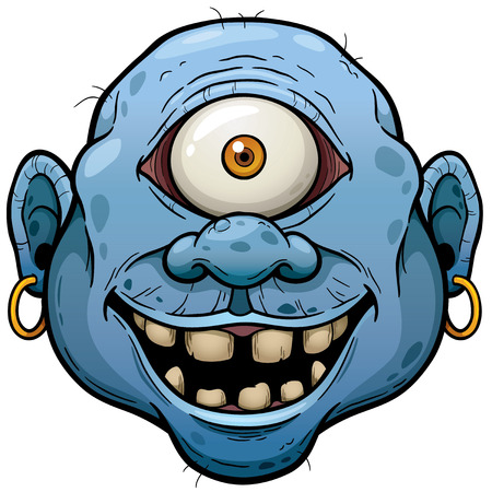 Vector illustration of Cartoon Monster face