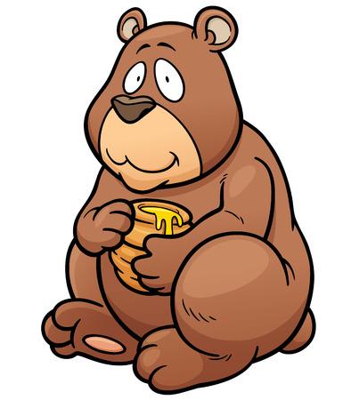 lindo: Ilustraci�n del vector de la historieta del oso de miel sosteniendo Vectores