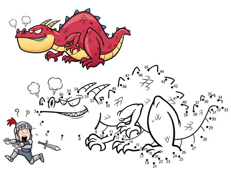 games: Vector Illustration of Education dot to dot game - Dragon Illustration