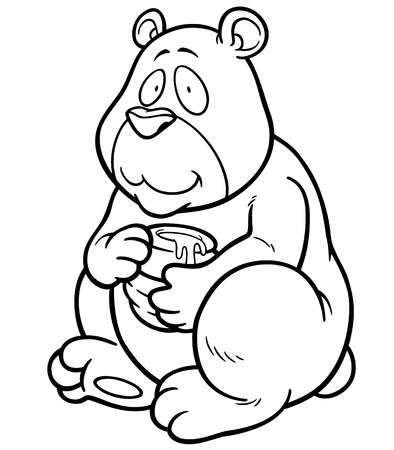 stuffed animals: Vector illustration of Cartoon Bear holding honey - Coloring book