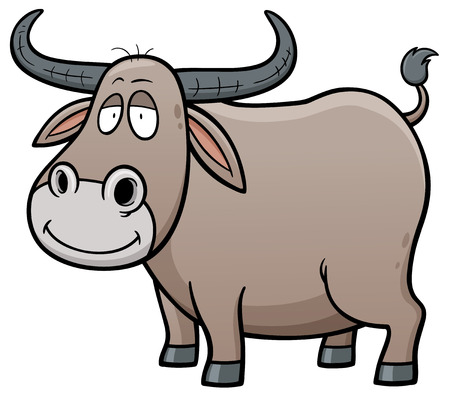 Vector illustration of Cartoon Buffalo