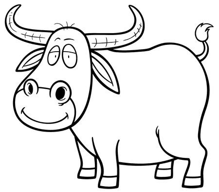 Vector illustration of Cartoon Buffalo - Coloring book
