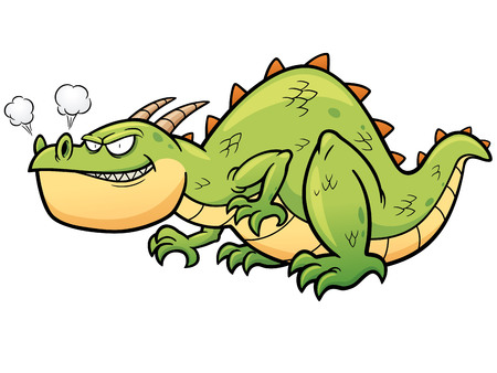 fearful: Vector illustration of cartoon dragon