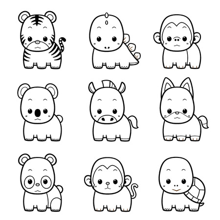 book vector: Vector illustration of Cartoon Animals set - Coloring book