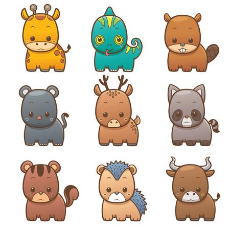 cameleon: Vector illustration of Cartoon Animals set