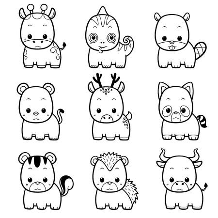 Vector illustration of Cartoon Animals set - Coloring book