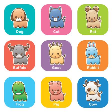 cabras: Ilustración del vector de la historieta Animales situado en el fondo de color Vectores