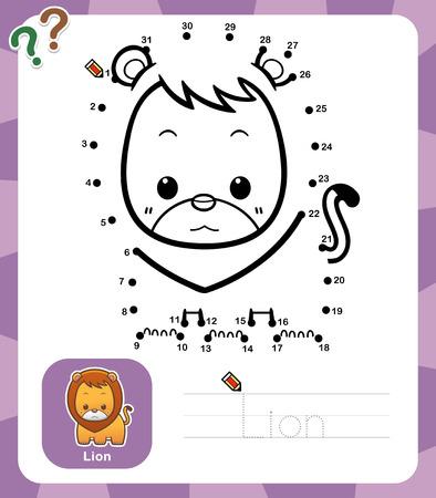 lijntekening: Vector Illustratie van Onderwijs dot om het spel dot - Lion Stock Illustratie