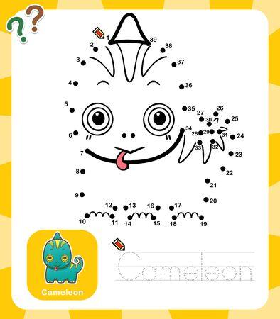 Vector Illustration of Education dot to dot game - Cameleon