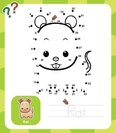 cartoon rat: Vector Illustration of Education dot to dot game - Rat