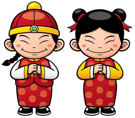 niñas chinas: Ilustración vectorial de los niños chinos