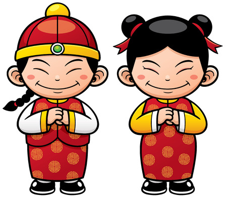 Vector illustration of Chinese Kids