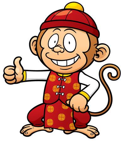 platano caricatura: Ilustración vectorial de dibujos animados mono