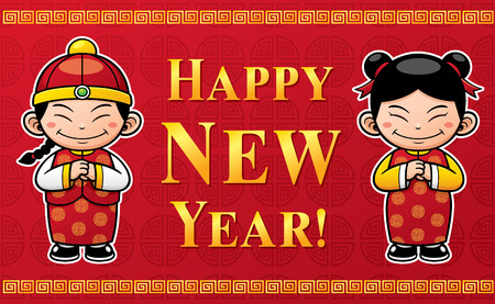chinese new year vector: Vector Illustration of Chinese Kids with Happy New Year sign