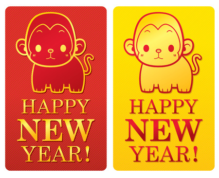 Vector Illustration of Monkey Happy New Year sign