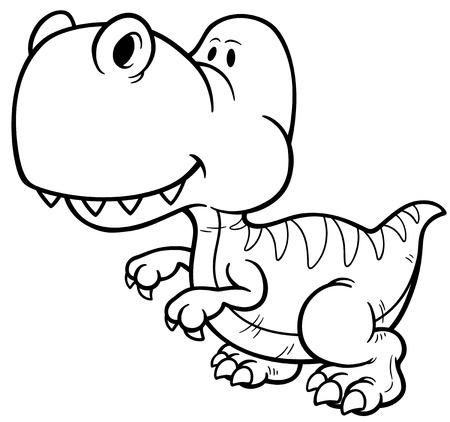 tyrannosaur: illustration of Dinosaur cartoon - Coloring book