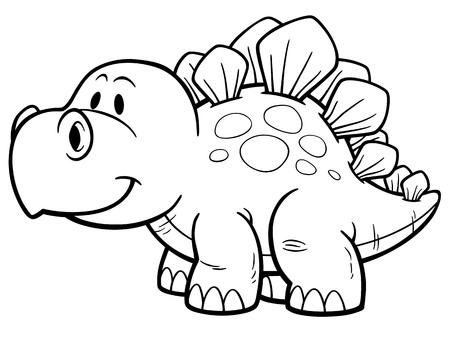 petrifying: illustration of Cartoon dinosaur - Coloring book