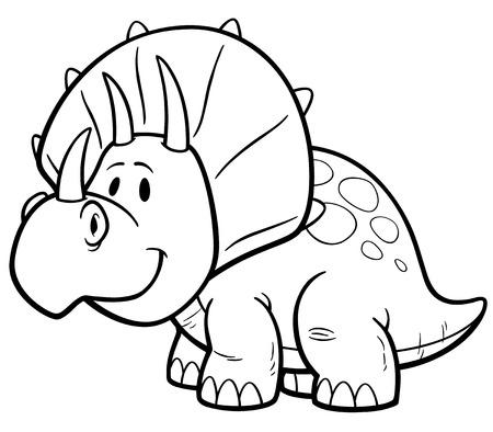 prehistory: illustration of Dinosaurs cartoon - Coloring book
