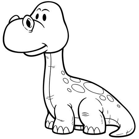 prehistory: illustration of Dinosaur cartoon - Coloring book