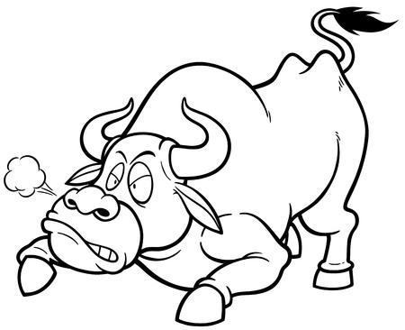 uncertain: Vector illustration of cartoon Bull - Coloring book Illustration