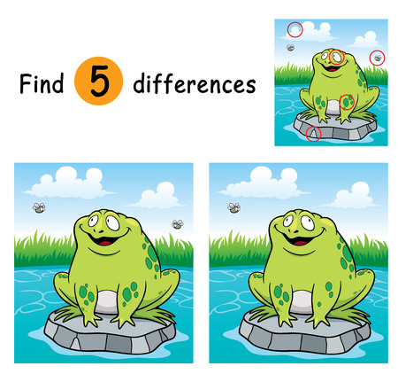 problems solutions: Vector Illustration of Game for children find differences - Frog Illustration