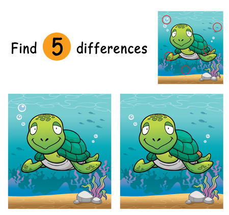 Illustration of Game for children find differences - Turtle