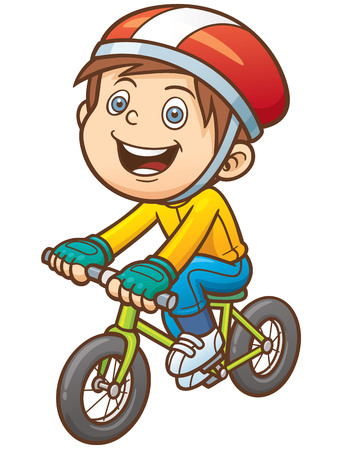 illustration of Cartoon boy on a bicycle
