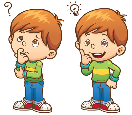illustration of Cartoon Boy thinking  イラスト・ベクター素材