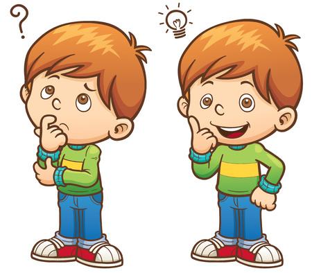 illustration of Cartoon Boy thinking Vectores