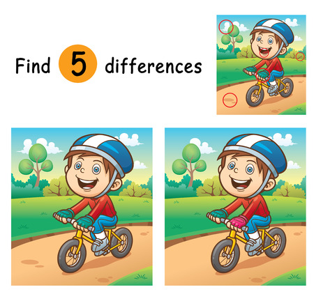 Illustration of Game for children find differences - Boy on a bicycle