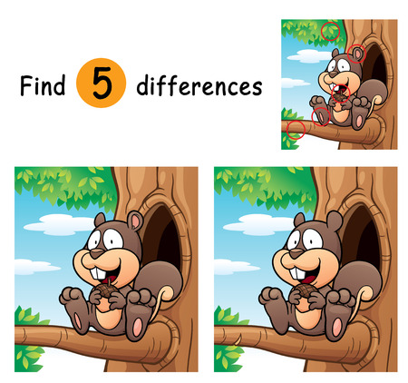 Illustration of Game for children find differences - Squirrel