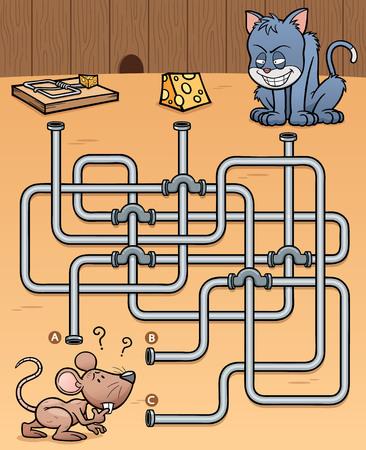 rata caricatura: Ilustración de Educación juego de laberinto de la rata con comida Vectores
