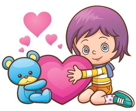 hugging: illustration of Girl Hugging teddy bear