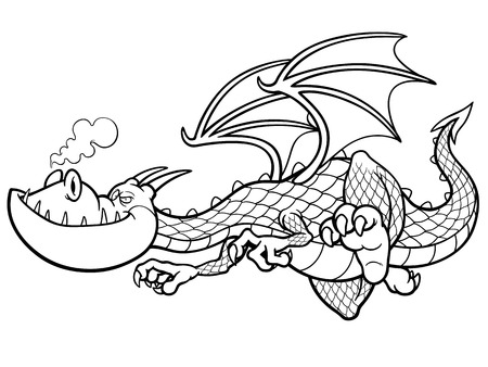 fearful: illustration of cartoon Dragon - Coloring book