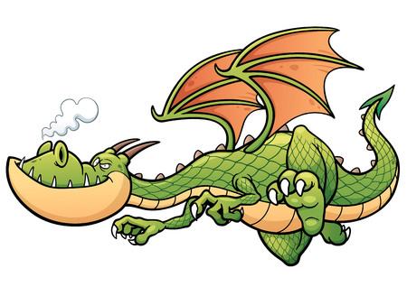 fire smoke: illustration of cartoon Dragon