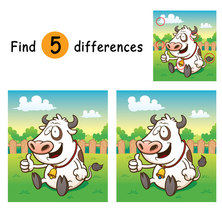 children cow: Illustration of Game for children find differences - Cow
