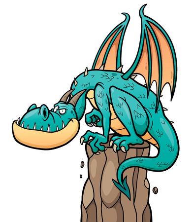 winged dragon: illustration of cartoon Dragon