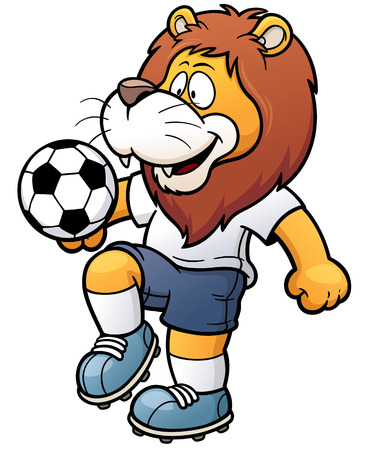 illustration of Cartoon Soccer player - Lion 向量圖像