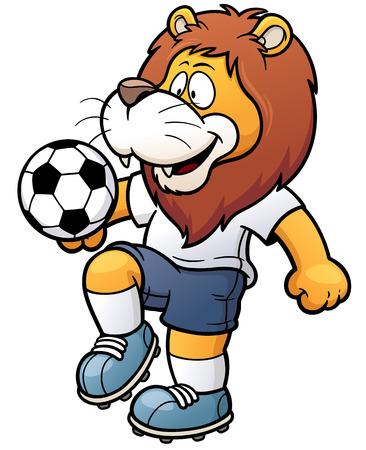 futbol soccer dibujos: ilustración de un futbolista de dibujos animados - León Vectores