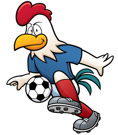 animal cock: illustrazione del giocatore di calcio del fumetto - Gallo Vettoriali