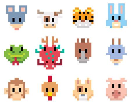 illustration of Chinese Zodiac animal cartoon - Pixel art style Vettoriali