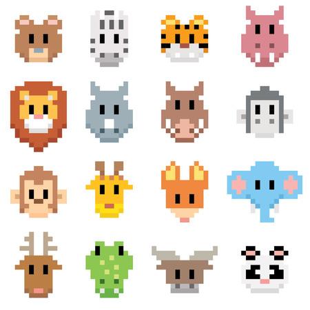 hipopotamo cartoon: ilustración de dibujos animados de animales - estilo del arte del pixel Vectores