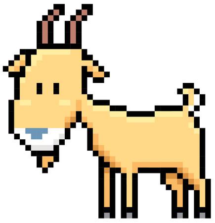 farmyard: Illustration of cartoon Goat - Pixel design