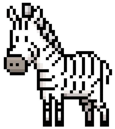 horse like: Vector illustration of Cartoon Zebra - Pixel style Illustration