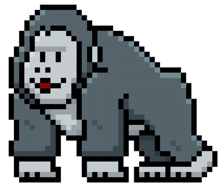 Vector illustration of Gorilla Cartoon - Pixel style Illustration