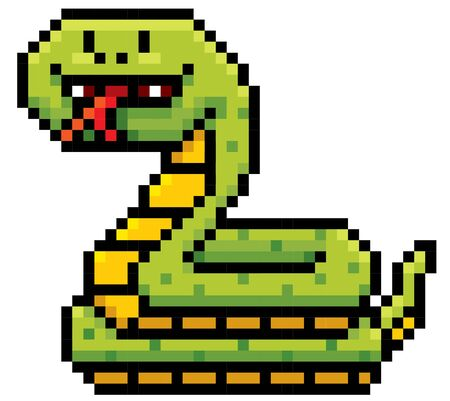 forked tongue: Vector Illustration of Cartoon Snake - Pixel design