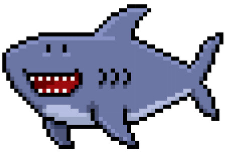 Vector illustration of Cartoon Shark - Pixel design