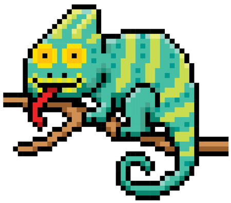 chamaeleo: Vector illustration of Cartoon Chameleon - Pixel design