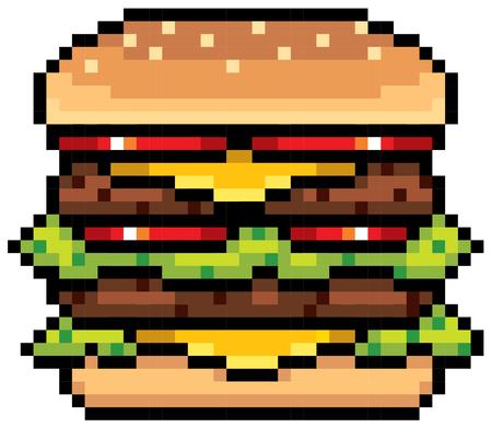 バーガー - ピクセル デザインのイラスト