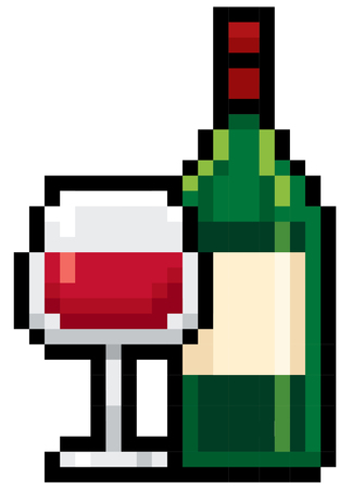 wine bottles: Illustration of Bottles wine - Pixel design